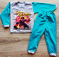 Детская тёплая пижама на байке Челловек- ПАУК на мальчика размеры 28