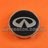 Колпачки заглушки на литые диски Infiniti (60/56/10) черные/логотип хром