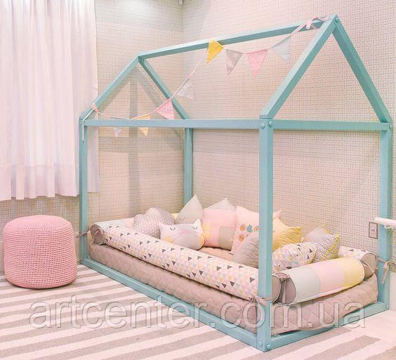 Кроватка-домик напольная, цвет бирюза