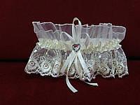Свадебная подвязка для невесты бежевая айвори кружевная