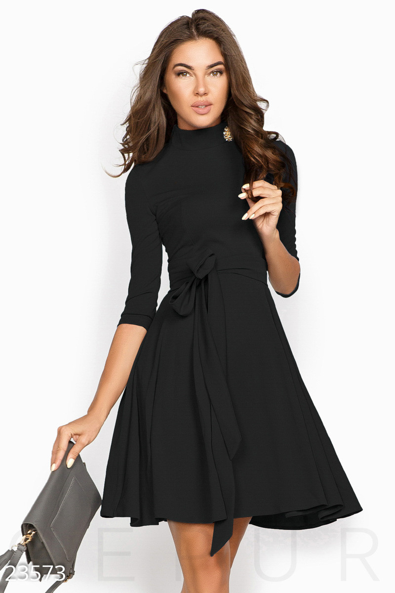 bf18ad67274 Платье А-силуэта с Поясом Черного Цвета — в Категории