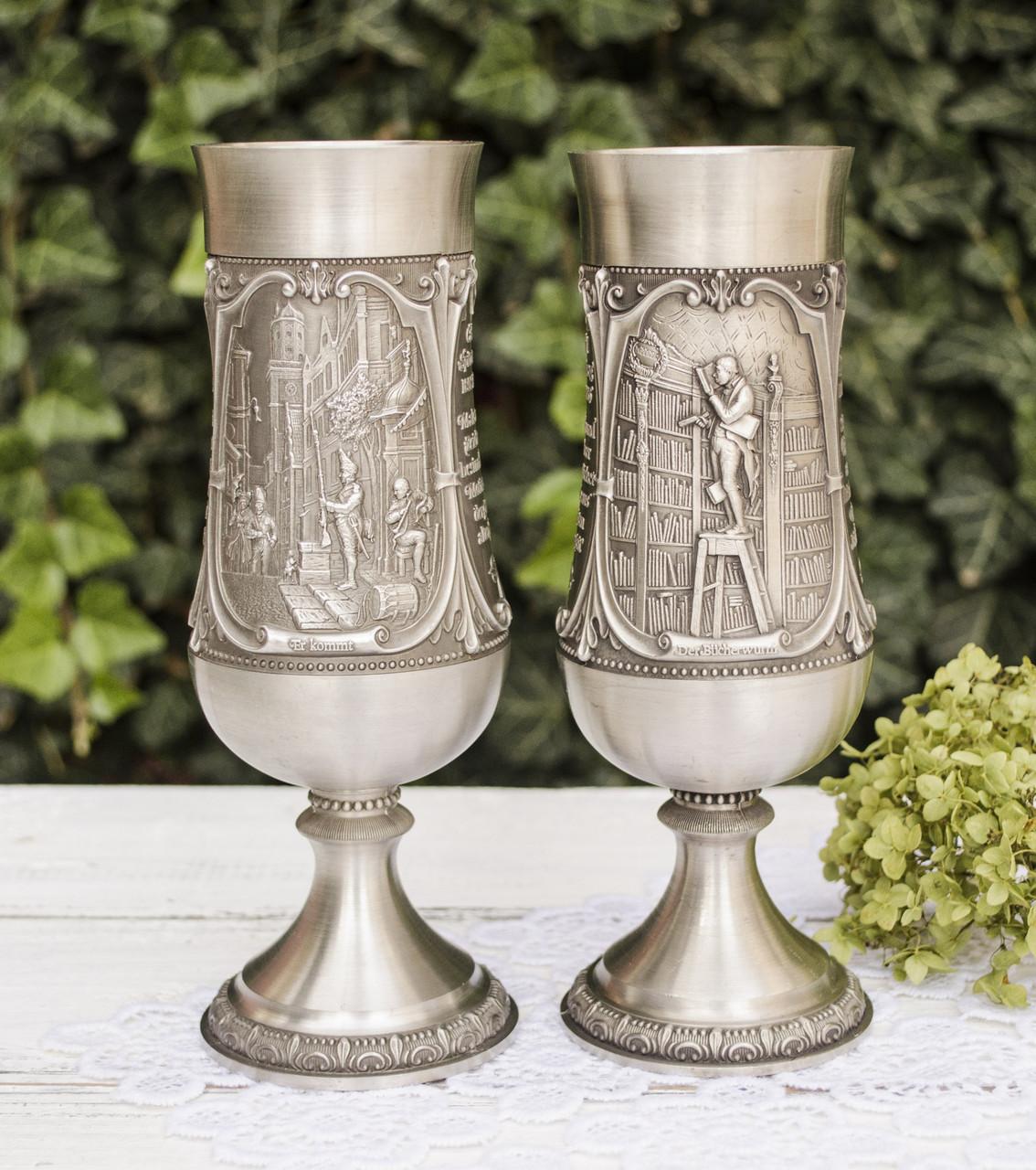 Два коллекционных оловянных бокала, пищевое олово, Германия, WMF