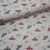 Ткань польская хлопковая, серо-малиновые летучие мыши на белом