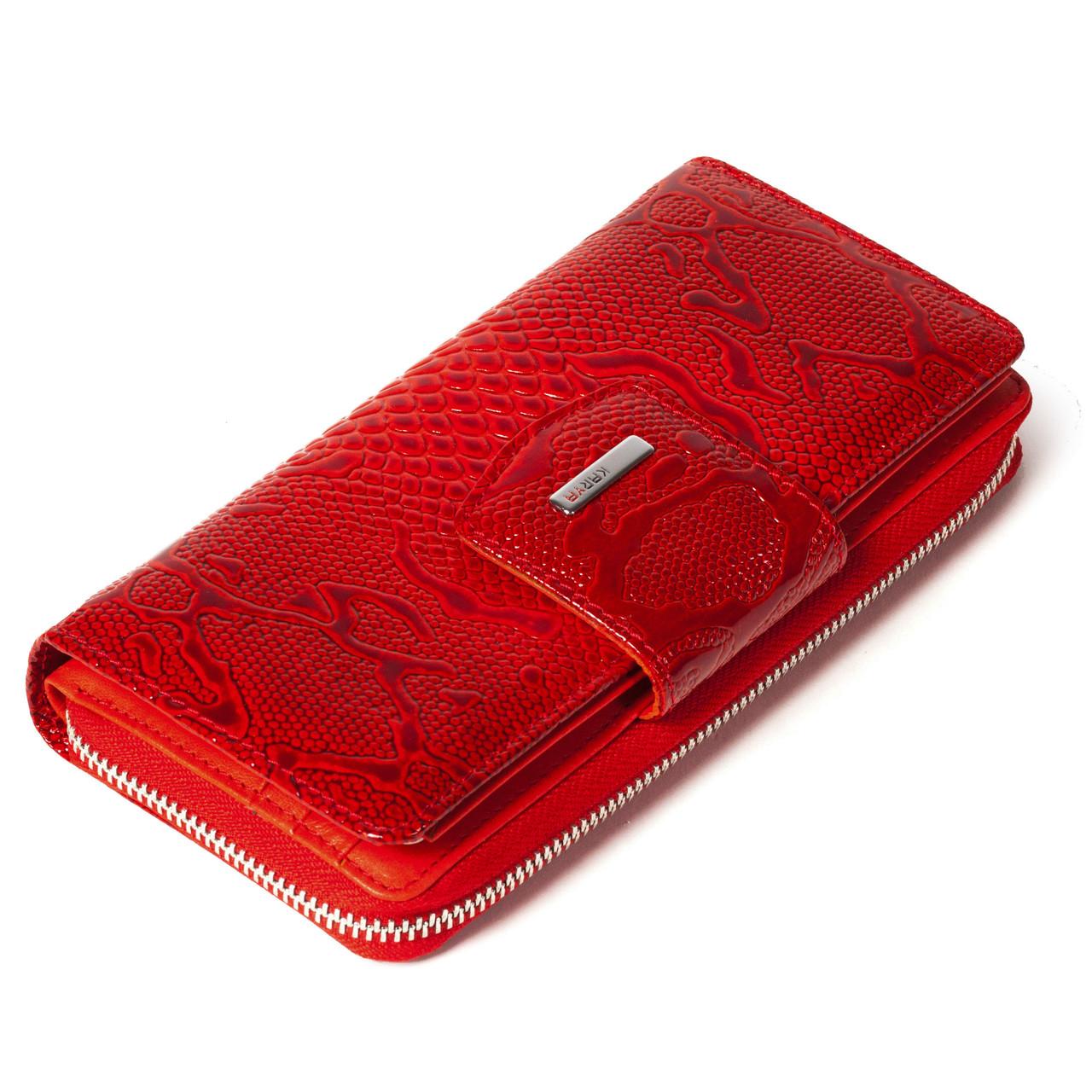 Женский кошелек кожаный красный Karya 1119-019