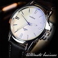 Часы мужские классические наручные кварцевые с чёрным ремешком и белой строчкой (белый циферблат)