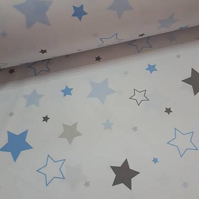 Ткань польская хлопковая Люкс, россыпь серо-голубых звезд на белом