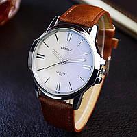 Часы мужские классические наручные кварцевые с коричневым ремешком (белый циферблат)
