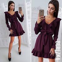 Женское платье с рюшами мини