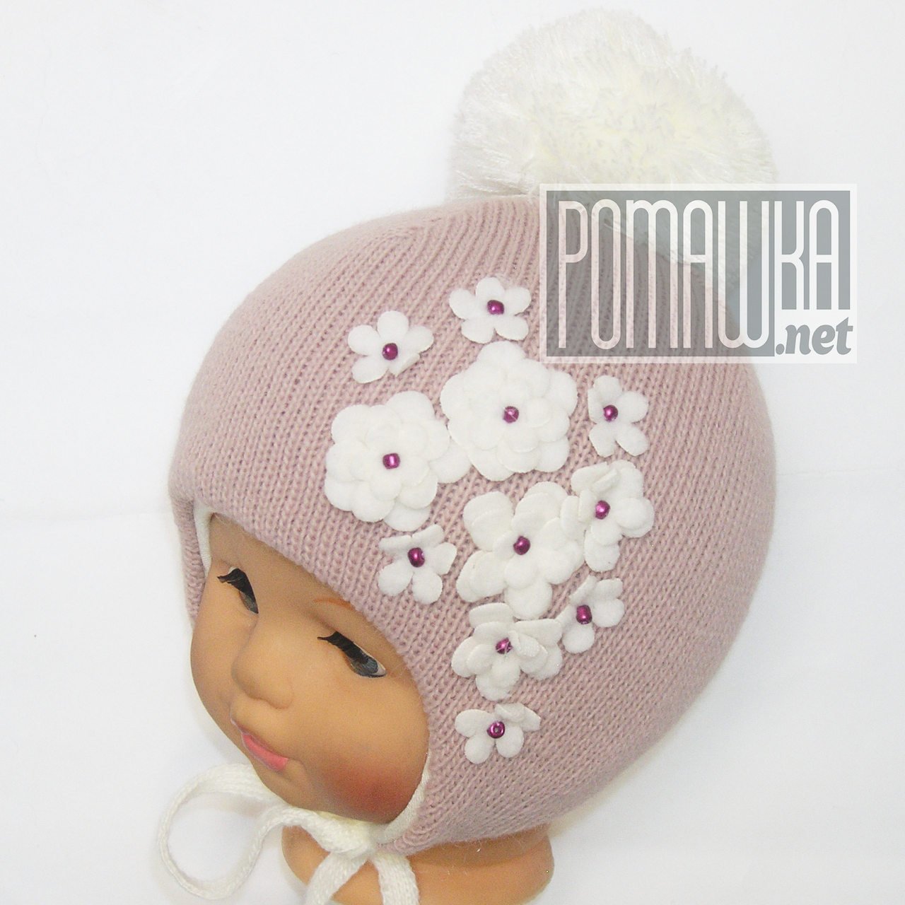 Детская зимняя вязанная термо шапочка р. 38-40 на завязках для  новорожденного 4432 Розовый 38 f9cde57643c4d