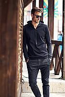 Копія  Мужская  стильное худи с капюшоном - черная, фото 1