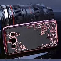 Чехол/Бампер со стразами для Samsung Galaxy J7 Neo / J701, Розовый (Силиконовый)