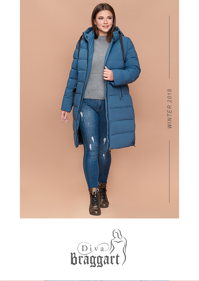 Braggart Diva 1923   Зимняя куртка большого размера темно-голубая ... ee6ed732e0e
