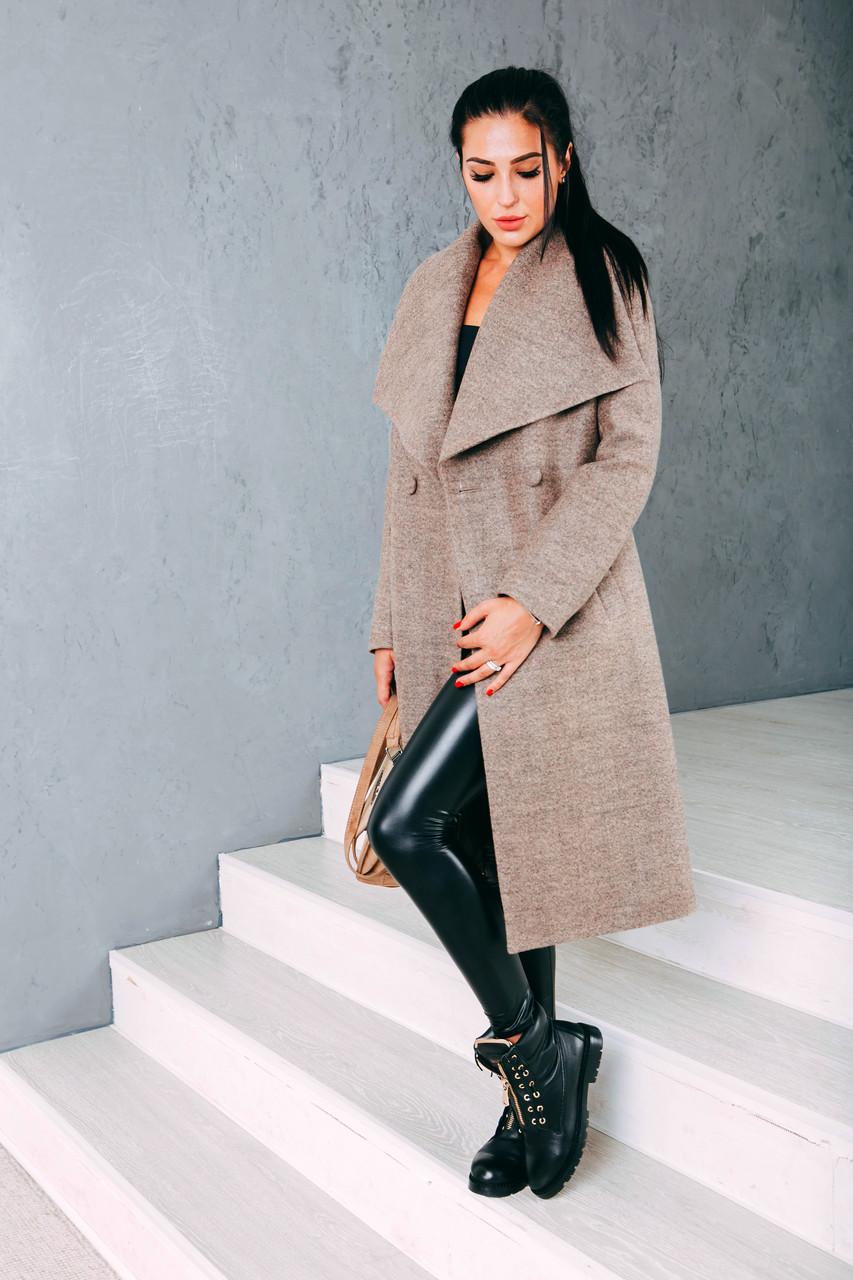Пальто женское бежевое Д346