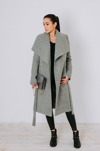 Пальто женское осеннее классика из шерсти Д346