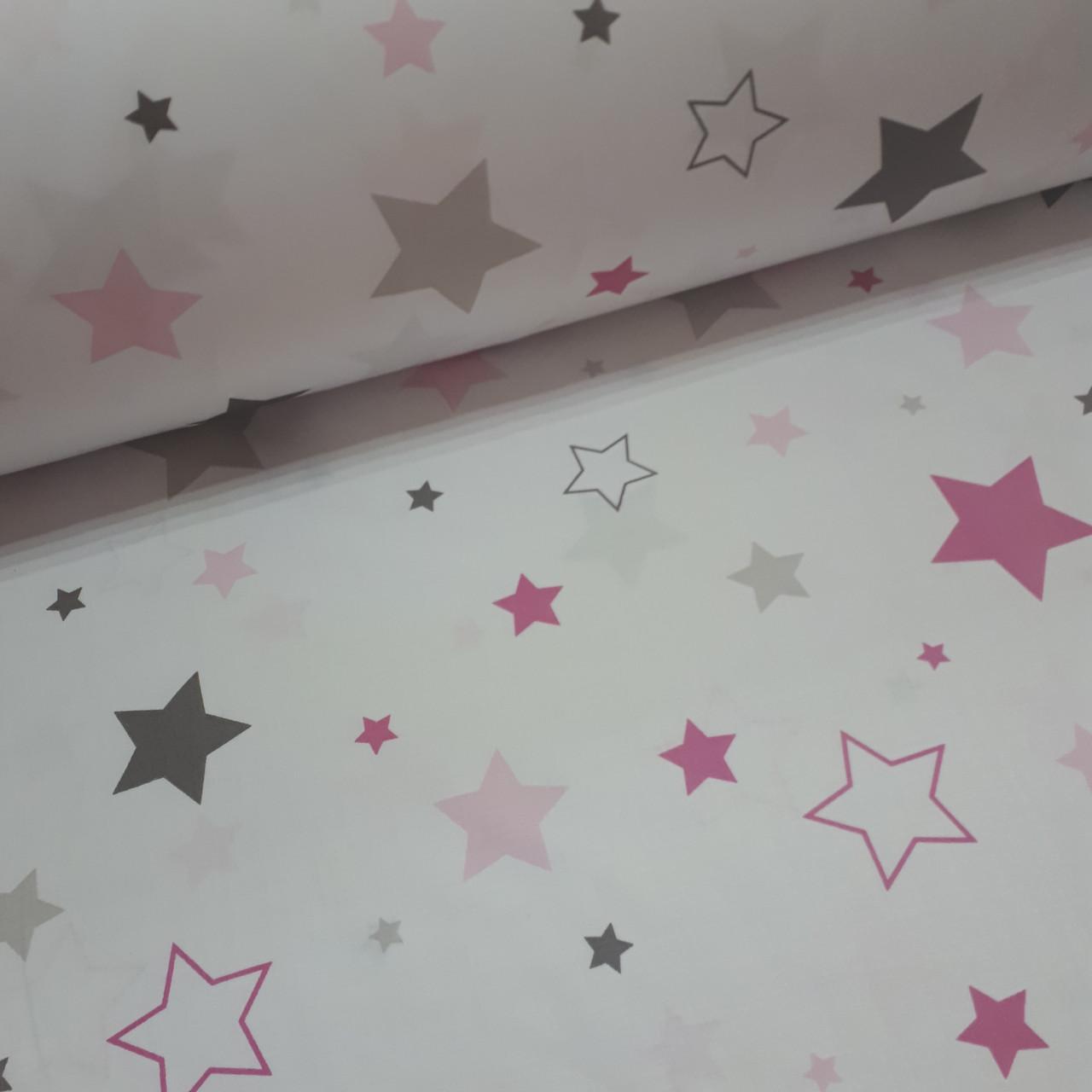 Ткань польская хлопковая Люкс, россыпь серо-розовых звезд на белом