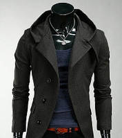 Мужское кашемировое пальто приталенное с капюшоном серое ce64dc4d35379