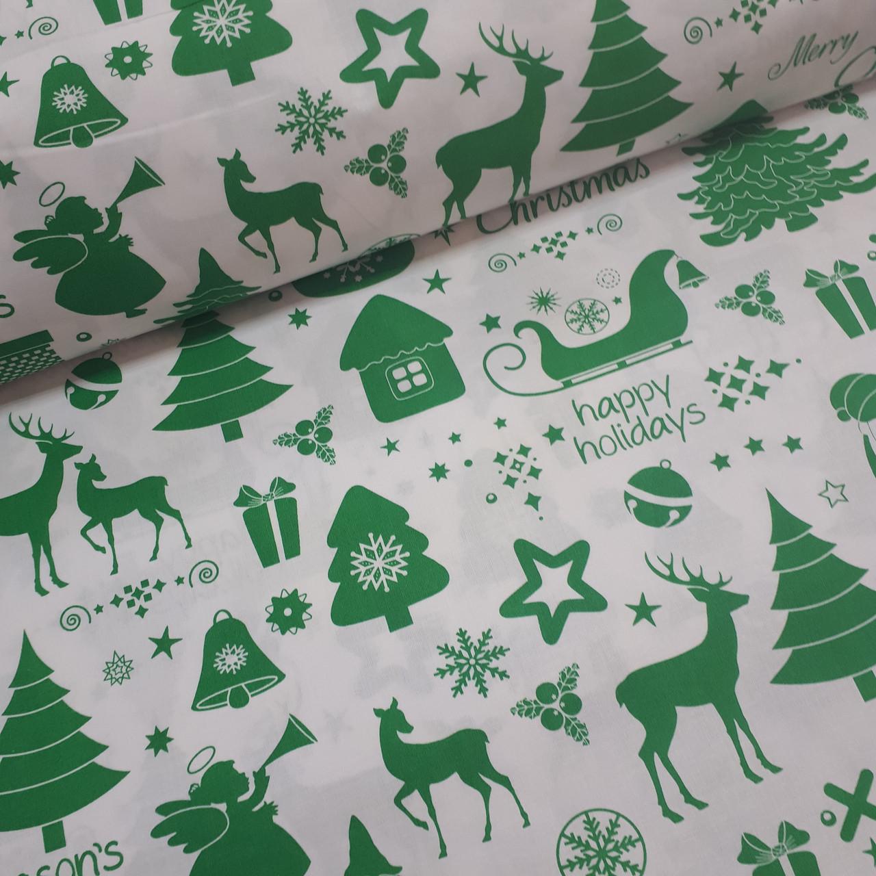 Ткань новогодняя хлопковая, Рождественская история на белом