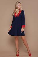 Короткое платье с рукавами и юбкой клеш, отделка из кружева Нита д/р синее