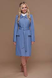 Стильный однотонный женский демисезонный плащ ниже колен с поясом Плащ 83 цвет джинс