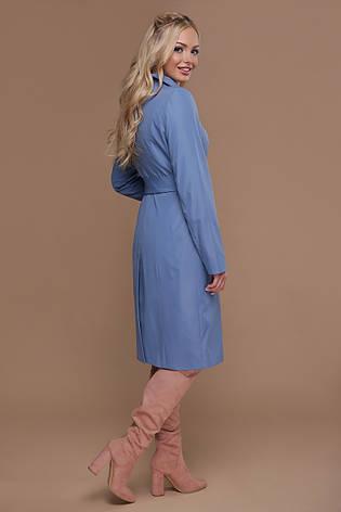Стильный однотонный женский демисезонный плащ ниже колен с поясом Плащ 83 цвет джинс, фото 2