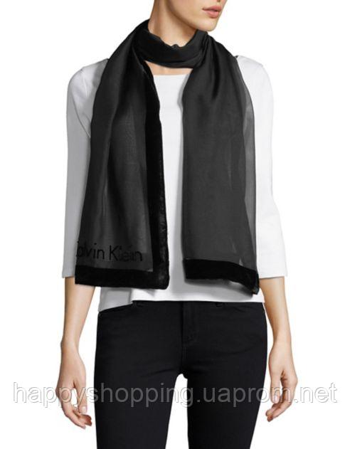 Женский черный полупрозрачный шарф c велюровой вставкой Calvin Klein