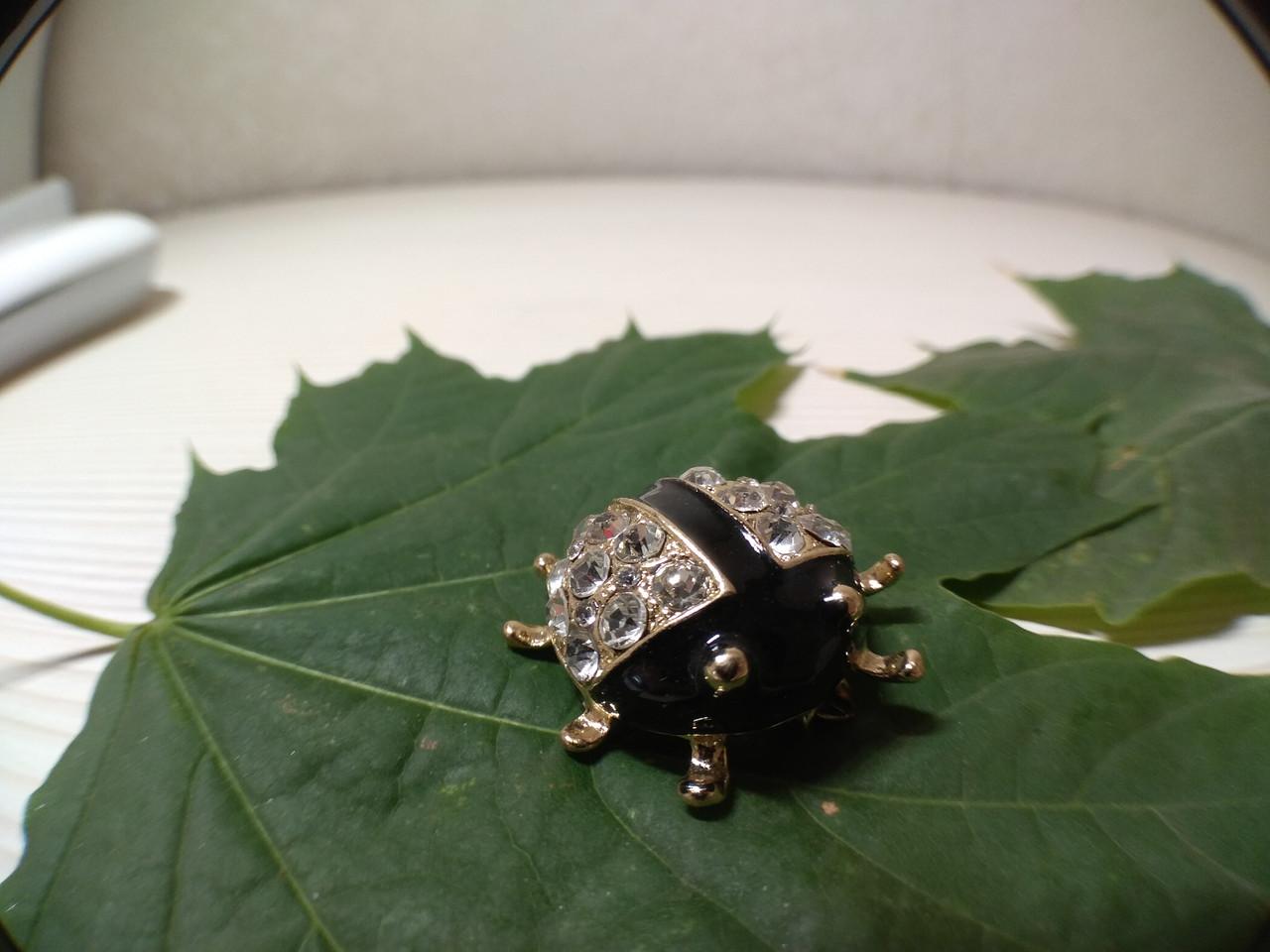 Брошь металлическая Черный жук