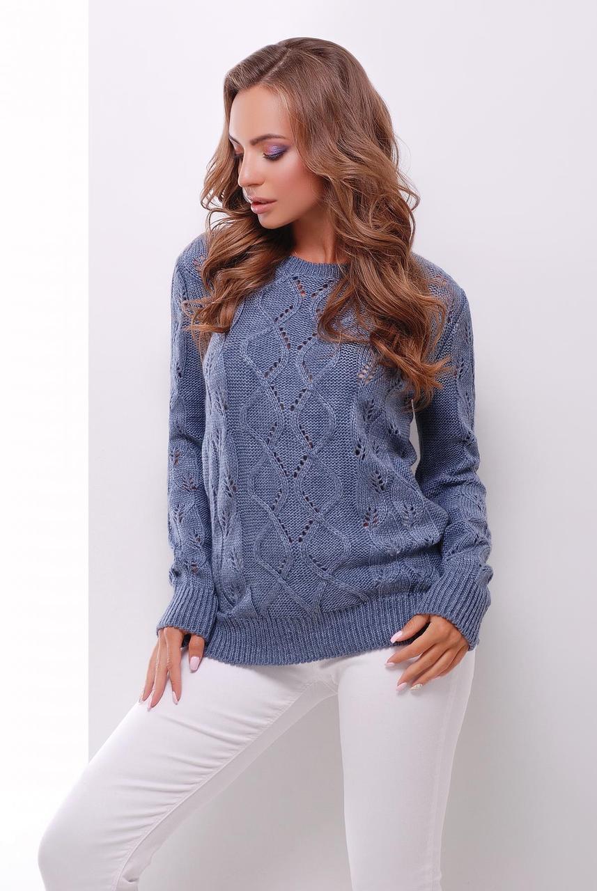 красивый вязаный женский свитер с узором в дырочку цвет светлый джинс