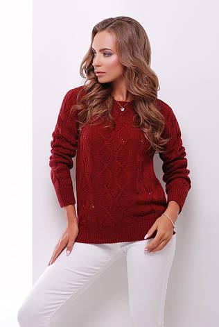 красивый вязаный женский свитер с узором в дырочку бордовый купить