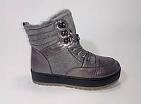 Женские зимние ботиночки на шнурках на искусственном меху