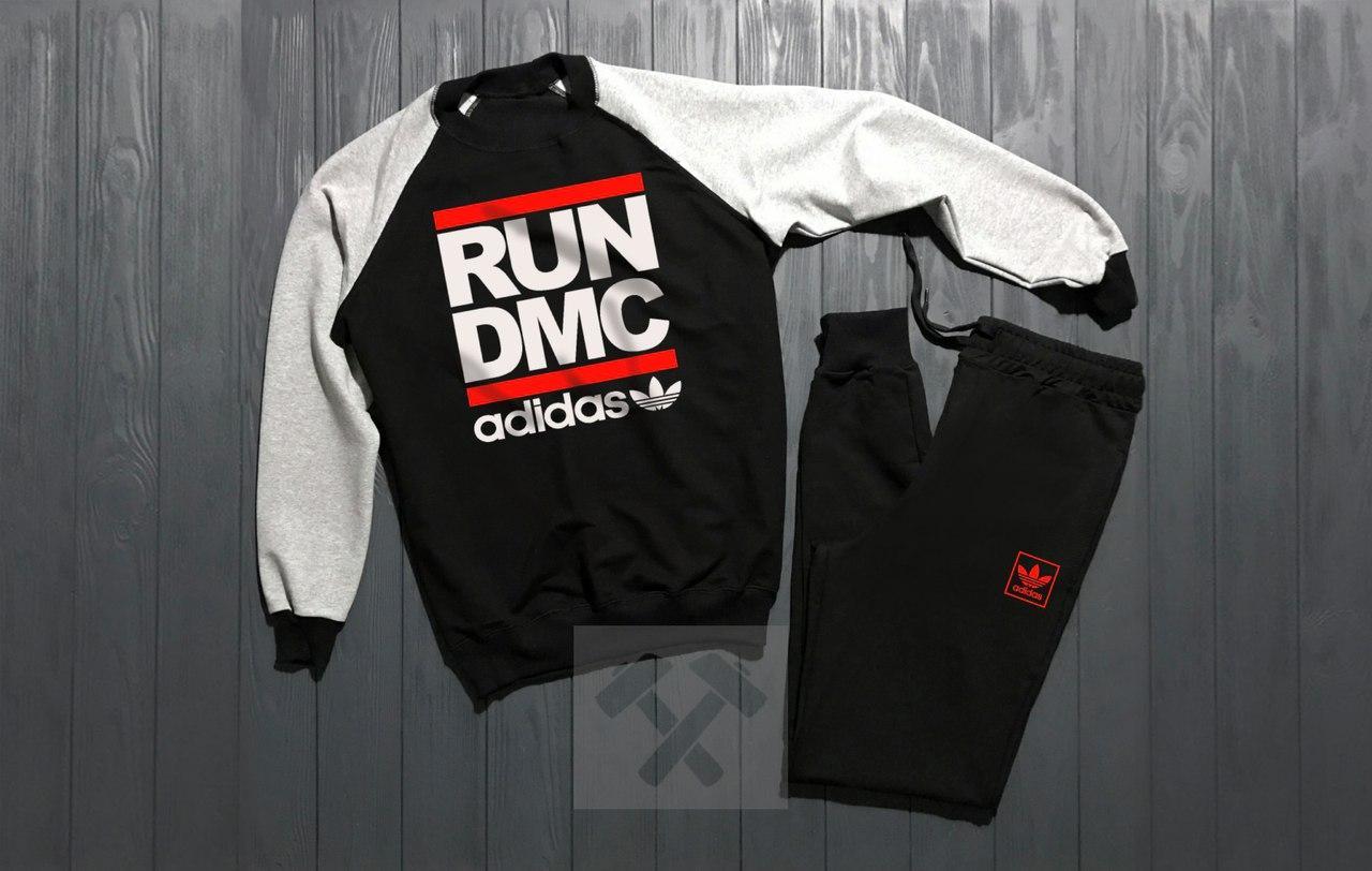 Спортивный костюм без молнии Adidas черно-серый топ реплика