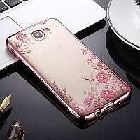 Чехол/Бампер со стразами для Samsung Galaxy J5 Prime / G570, Розовый (Силиконовый)