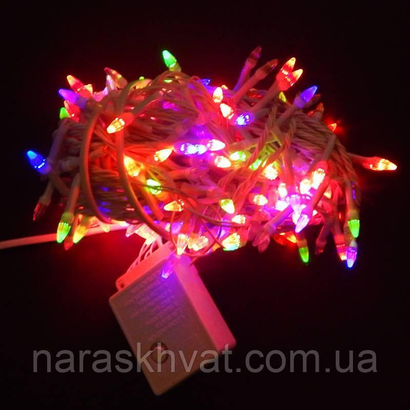 Гирлянда Нить Конус-рис LED 300 мульти, белый провод