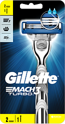 Бритва Gillette Mach 3 Turbo с 2 сменными картриджами
