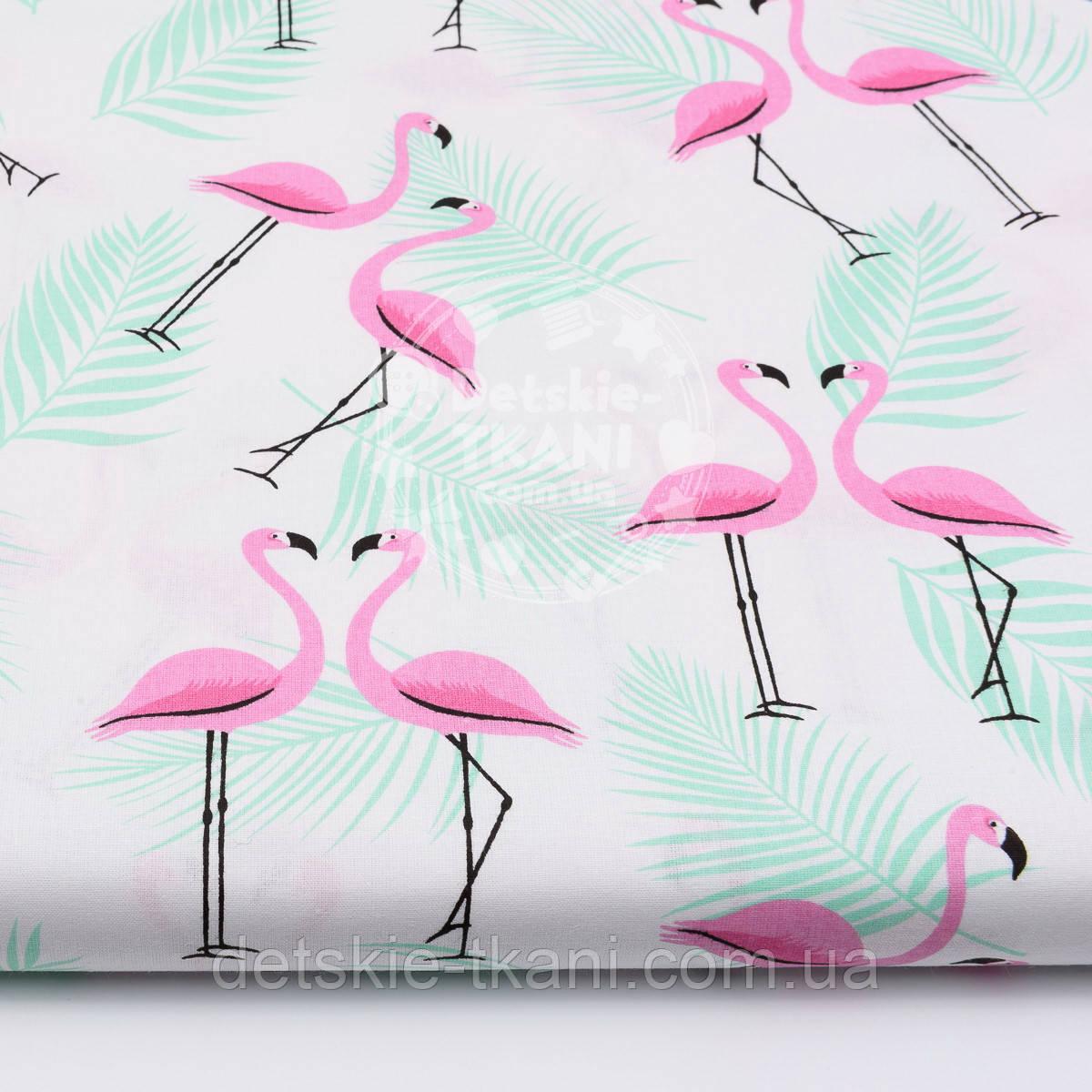 """Ткань хлопковая """"Розовые фламинго с мятной веткой пальмы"""" (№1540)"""