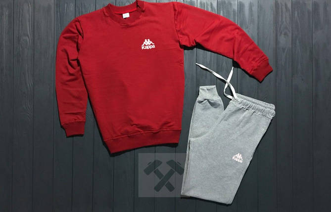 Спортивный костюм без молнии Nike красно-серый топ реплика, фото 2