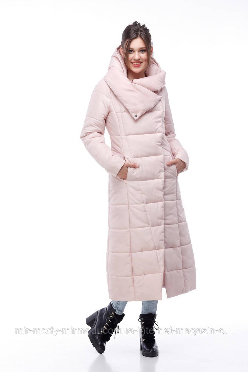 Зимнее пальто Комильфо  пудра-милитари с 44 по 54 размер(ор)