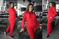 Женский спортивный костюм красный, черный, фото 1