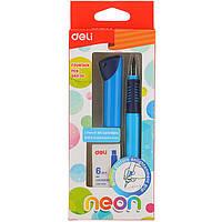 Ручки перьевые Deli EQ80100 микс Neon эргоном рез грип + 6 картриджей, карт бл Код:748023331
