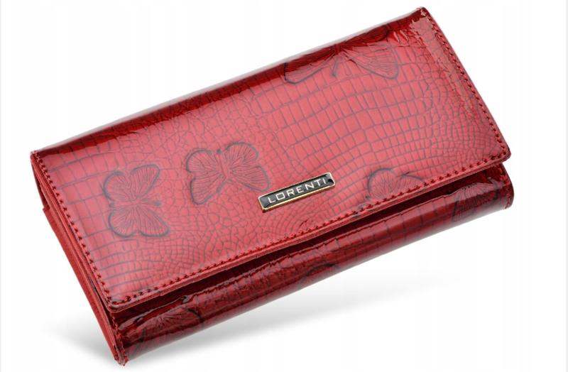 668645aecab9 Женственный и элегантный кошелек Lorenti из натуральной лакированной кожи  (красный) Италия код 332 -