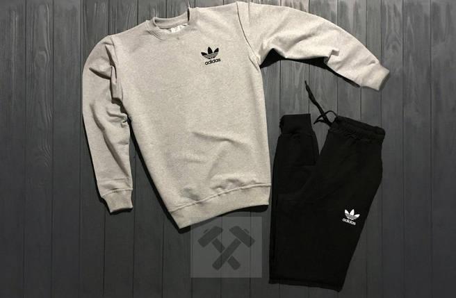 Спортивный костюм без молнии Adidas серо-черный топ реплика, фото 2