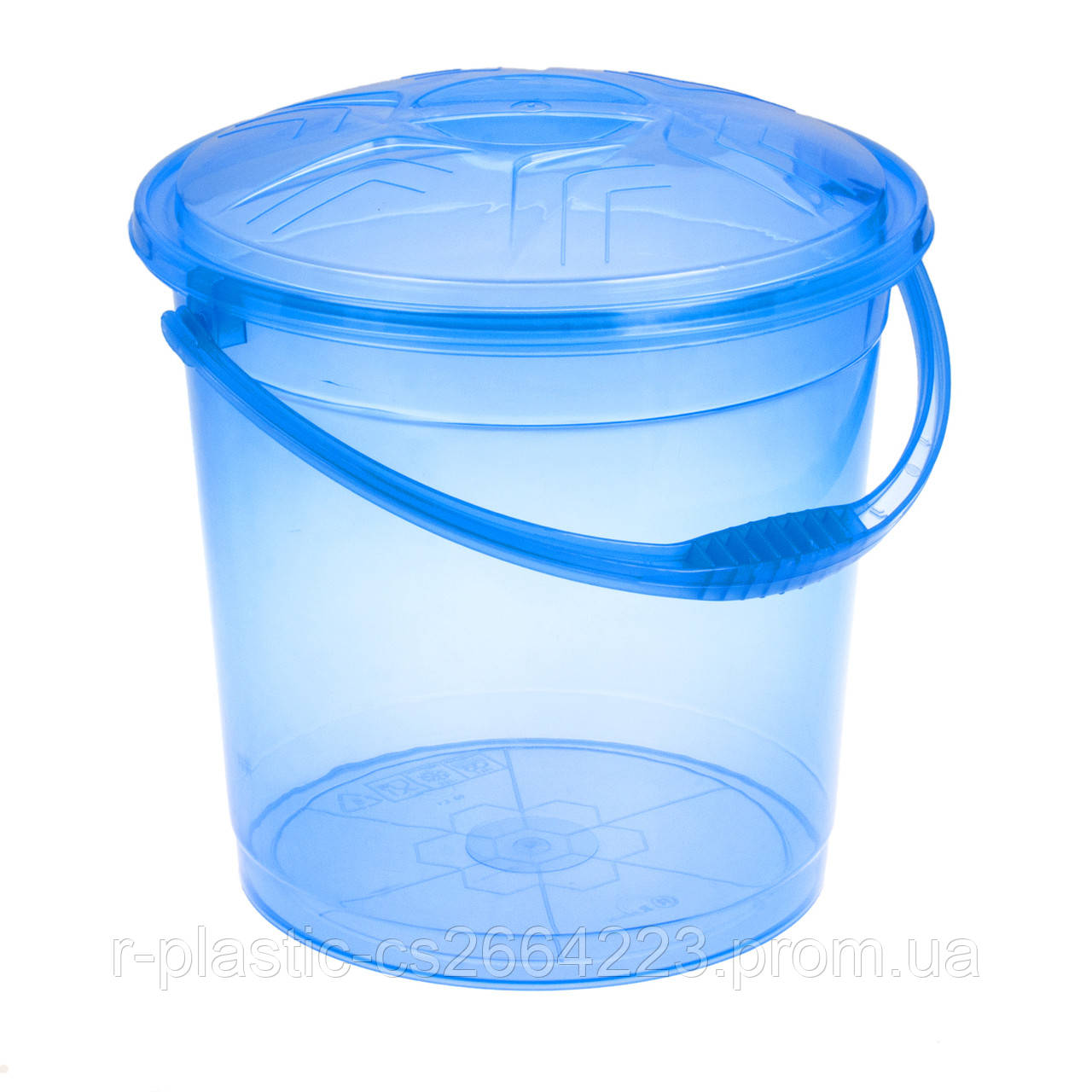 Ведро прозрачное с крышкой 12л R-Plastic голубое
