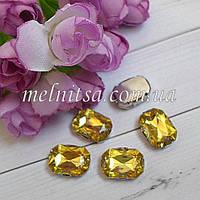 Акриловый камень в  оправе, 13 х 18 мм, цвет лимонный