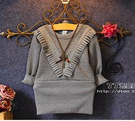 Распродажа Оригинальное теплое платье- туника с бахромой