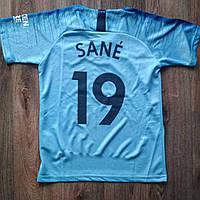Детская футбольная форма Манчестер сити Sane (Сане) 2018-2019 голубая, фото 1