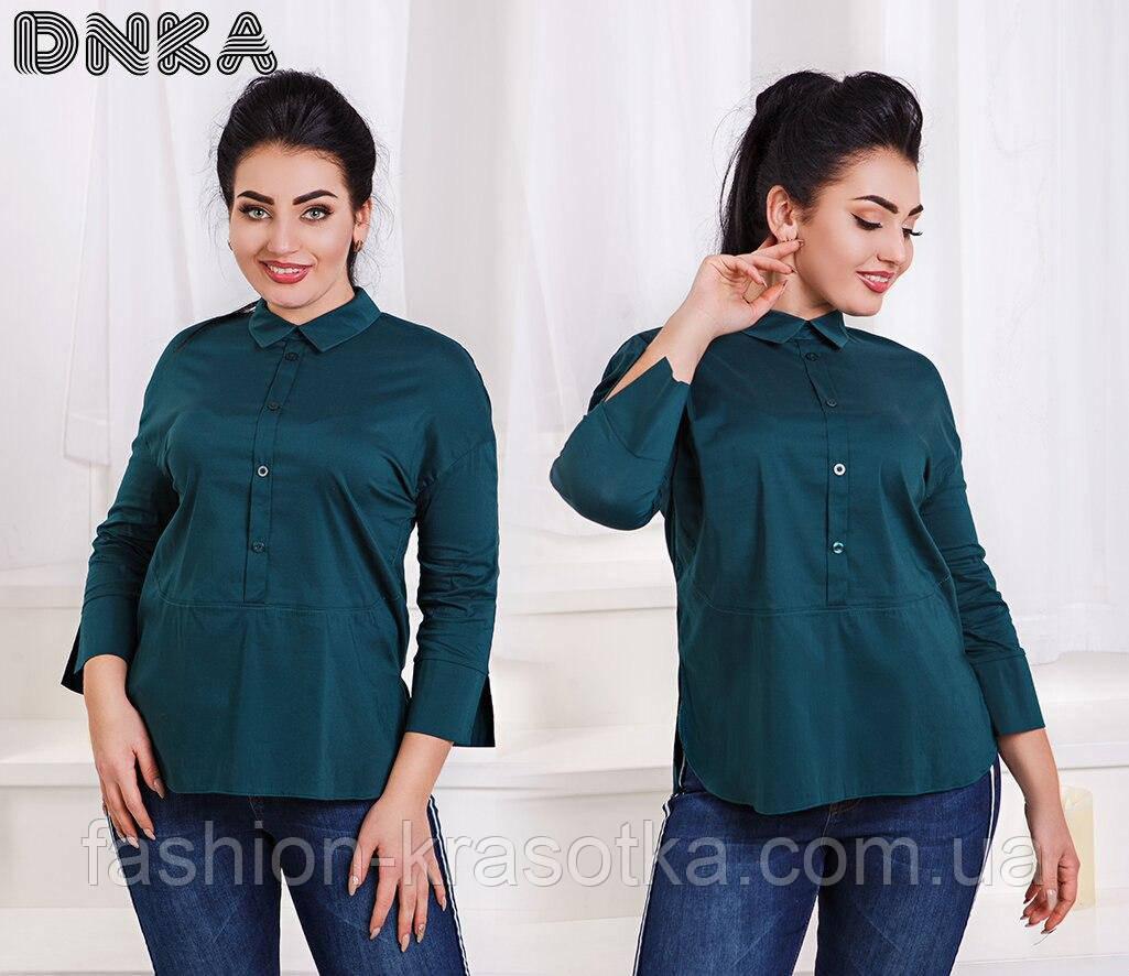 Модная женская строгая рубашка в размерах 42-56