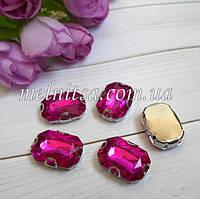 Акриловый камень в  оправе, 13 х 18 мм, цвет малиновый