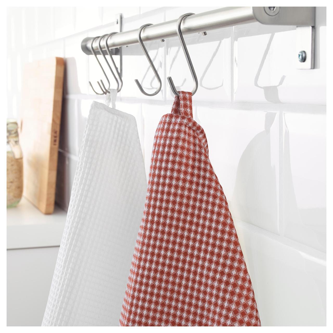 Полотенце кухонное IKEA TROLLPIL 50x70 см 2 шт белое красное 803.720.01