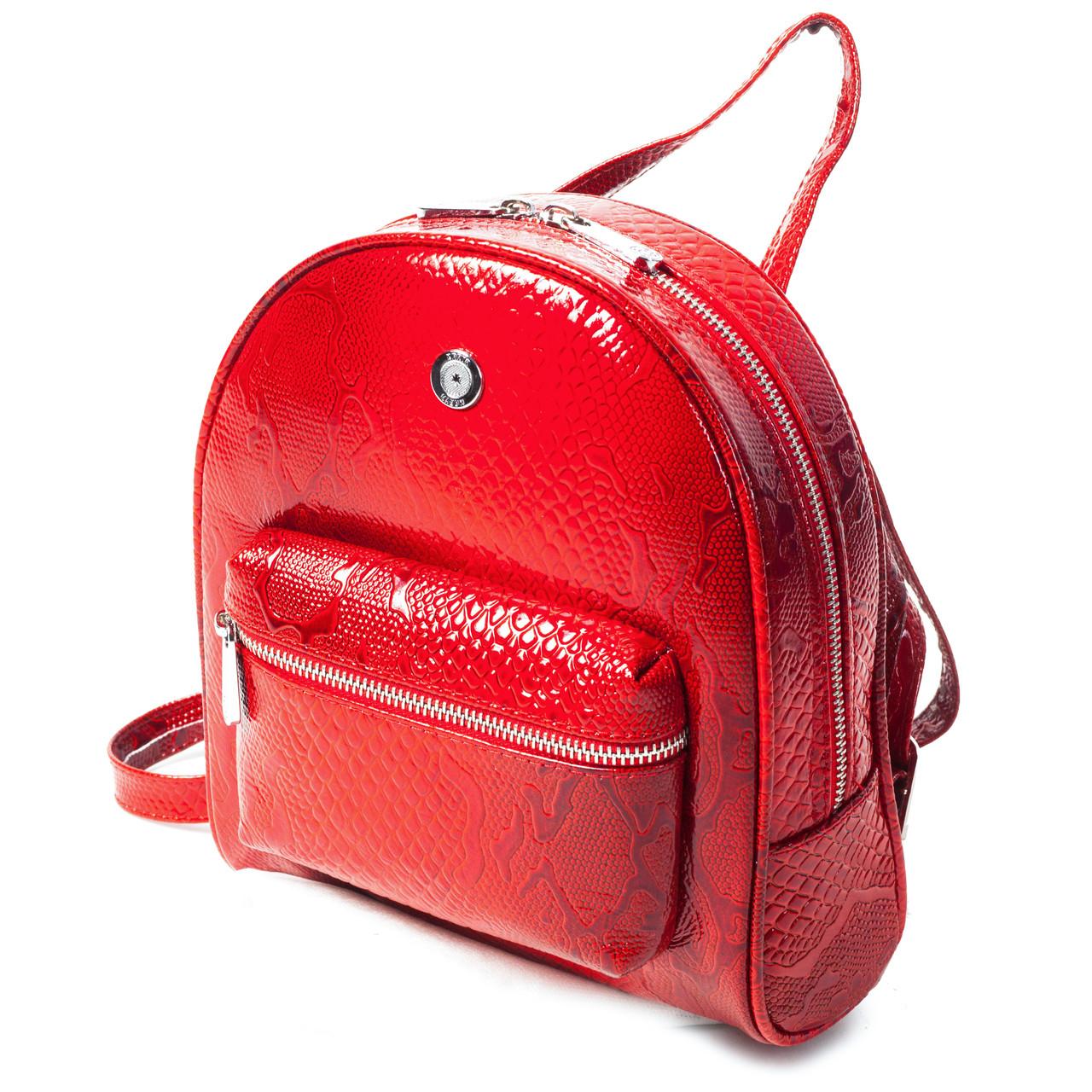 Женский городской рюкзак Karya 0781-019 из натуральной кожи красный