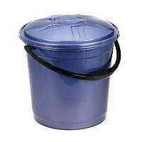 Ведро цветное с крышкой 12л R-Plastic фиолетовое