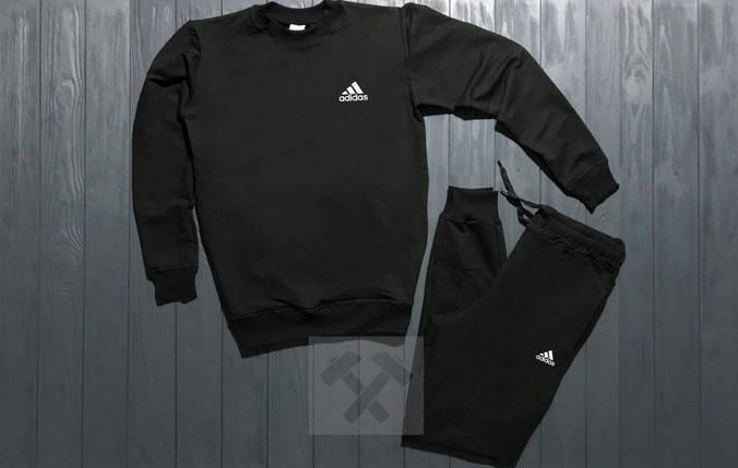 Спортивный костюм без молнии Adidas черный топ реплика, фото 2